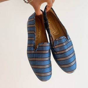 Stubbs & Wootton Brown Blue Striped Loafers